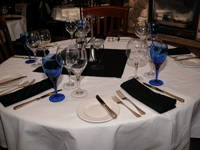 table with fancy place settings in a banquet hall