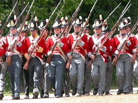Row of marching demeuron soldiers