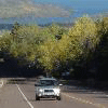 Car driving down highway