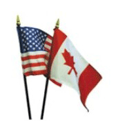 American and Canadian Flags crossed