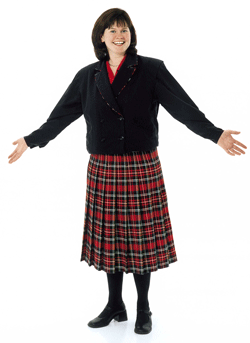 Smiling Woman wearing red plaid staff skirt with out stretched arms