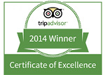 2014 Certificate of Excellence from Trip Advisor