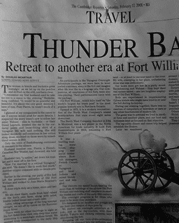 Newspaper article clipping showing headline about FWHP