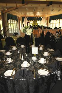Beautifully decorated dining room setup for wedding